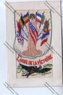 """TRES RARE CPA Brodée Militaria : Femme Avec Drapeaux Alliés écrasant Aigle Noir """"L'aube De La Victoire"""" - Guerre 1914-18"""