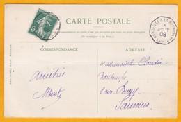 1908 - YT 137  5 C Semeuse Camée Sur CP Vers Saumur, France Par Ligne O N° 2  Marseille Reunion - Vue Lac Victoria - Postmark Collection (Covers)