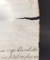1789 - Lettera Manoscritta Sullo Scambio Di Terreni (Luogo: Sardegna, Lingua: Spagnolo). - Manoscritti
