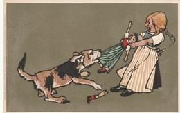 Carte Postale Ancienne Illustrée - éditeur Meissner & Buch - Vers 1900 - Fillette - Chien - Poupée - Illustrateurs & Photographes