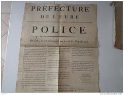 "AFFICHE, Evreux , Préfecture , Frimaire An 11 , "" Charlatan "" Delisse Du Grand Andely - Castration D'enfants ) ( Andelys - Posters"