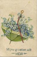 MEIR  :  Mijne Groeten Uit  -   Reliëf Kaart   (  Geschreven Zonder  Zegel 1 Cent 190x )  Paraplu - Hoogstraten