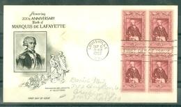 ETATS-UNIS - FDC - 200th ANNIVERSARY Of MARQUIS De LAFAYETTE De LOUISVILLE Du 6 SEP 1957 BLOC 4 Timbres - 1951-1960