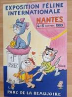 Affiche Chats - Grand Illustrateur Animalier Barberousse - Exposition Feline Nantes 1989 - Affiches