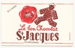 Buvard ( 20.5 X 13.5 Cm )Le Bon Chocolat Saint-Jacques Tourcoing ( Taches ) - Chocolat