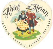 ETIQUETA DE HOTEL  -   HOTEL  MERAN  -SALZBURG  -AUSTRIA (ETIQUETA DOBLE) - Etiquetas De Hotel