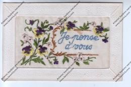 """CPA Brodée """"Je Pense à Vous"""" Représentant Fleurs Roses Et Viollettes - Brodées"""