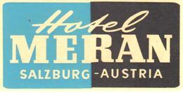 ETIQUETA DE HOTEL  -   HOTELL MERAN  -SALZBURG  -AUSTRIA - Etiquetas De Hotel