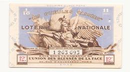 Billet De Loterie Nationale Les Gueules Cassées 1937 - Billets De Loterie