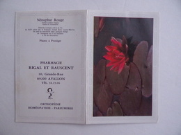 CALENDRIER De POCHE 1983 Nénuphar Rouge Publicité PHARMACIE RIGAL & RAUSCENT à AVALLON 89 - Calendars