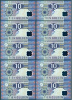 Nederland Set Van 10 Guldens (10) 1997 IJsvogel Opeenvolgende Nummers (511-520) Unc - [2] 1815-… : Royaume Des Pays-Bas