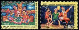 India 2018 Communal Harmony 2v Set Children's Day Hindu Muslim Christian Santa Sikh Tree Water MNH Inde Indien Christmas - Religions