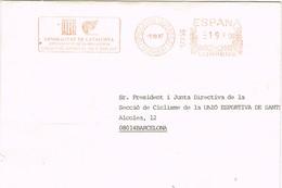 31042. Carta ESPLUGAS De LLOBREGAT (Barcelona) 1987. Frabqueo Mecanico Generalitat, Esport - 1931-Hoy: 2ª República - ... Juan Carlos I