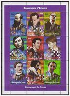 0706 Tchad 2002 Schaken Chess Echec Kasparov Spassky KarpovFischer Euwe S/S MNH - Schaken