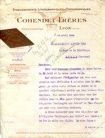 ETABLISSEMENTS LITHOGRAPHIQUES & TYPOGRAPHIQUES.COHENDET FRERES 30 RUE COMMANDANT FUZIER.LYON. - Imprimerie & Papeterie