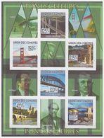 0718 Comores 2009 Bruggen Famous Bridges Golden Gate S/S MNH Imperf - Bruggen