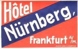 ETIQUETA DE HOTEL  - HOTEL NÜRNBERG  -FRANKFURT  -ALEMANIA - Etiquetas De Hotel