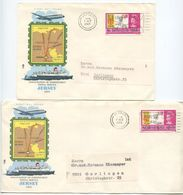 Jersey 1969 2 FDCs Scott 22 QEII & Inauguration Of Independent Postal Service - Jersey