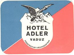 ETIQUETA DE HOTEL  -  HOTEL ADLER  -VADUZ  -LIECHTENSTEIN - Etiquettes D'hotels