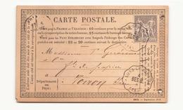 Carte Postale De Lons-le-saunier Cachet De Convoyeur Station 4 BES.B. - 1876-1878 Sage (Type I)
