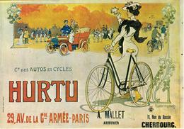 Thematiques Reproduction Affiche Publicité Hurtu Autos Et Cycles Automobiles Paris Cherbourg Bicyclette - Taxis & Cabs