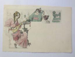 Künstlerkarte, Jugendstil, Frauen, Mandoline, Mode, 1900,Pallas Athene ♥  - Künstlerkarten