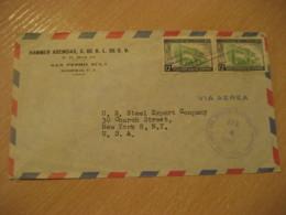 TEGUCIGALPA 1958 To New York USA 2 Stamp Cancel Air Mail Cover HONDURAS - Honduras