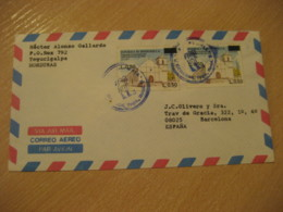 TEGUCIGALPA 1988 To Barcelona Spain 2 Stamp Cancel Air Mail Cover HONDURAS - Honduras