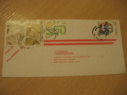 SAN PEDRO SULA 1985 To New York USA 4 Stamp Cancel Air Mail Cover HONDURAS - Honduras