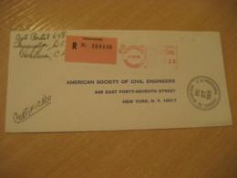 TEGUCIGALPA 1968 To New York USA Cancel Meter Mail Registered Label Cover HONDURAS - Honduras