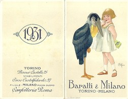 """2137 """" BARATTI & MILANO - TORINO-MILANO  - CALENDARIO 1931-COPERTINA ILLUSTRATA DA COTTARO """" ORIGINALE - Calendari"""