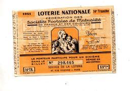 Billet Loterie Nationale Societe Postale De Mutualite - Billets De Loterie