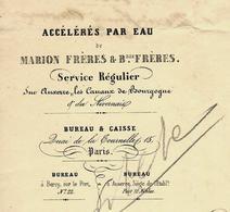 """1843 NAVIGATION TRANSPORTS PAR EAU COMMERCE Auxerre Canaux De Bourgogne """"Marion Frères Et Beaux Frères"""" B.E. VOIR SCANS - France"""