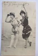 Meer, Strand, Baden, Frauen, Bademode, Karte Mit Glitzer 1905  - Ansichtskarten