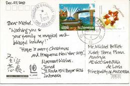 Stamp  Wild Orchid Vanda Sumatrana Of Indonesia, On Postcard Sent To Andorra, With Arrival Postmark - Orquideas