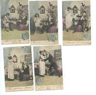 SERIE DE 5 CPA COUPLE - COCOTTE - PROSTITUTION - Couples