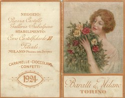 """2142 """" BARATTI & MILANO - TORINO -CALENDARIO 1924 - DONNA CON MAZZO DI ROSE """" ORIGINALE - Formato Piccolo : 1921-40"""