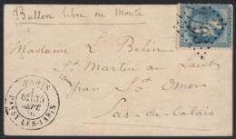"""Ballon Monté """"L'Armand Barbès"""" Oblitéré PASSY-LES-PARIS 30/SEPT./1870 - 1863-1870 Napoléon III Lauré"""