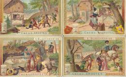 Lot De 4 Anciens Chromos CACAO GROOTES WESTZAAN HOLLANDE - Thème Blanche Neige Et Les 7 Nains - Schokolade