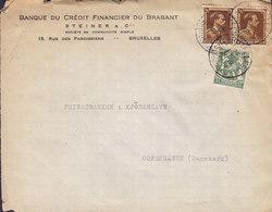 Belgium BANQUE DU CRÉDIT FINANCIER DU BRABANT, BRUXELLES 1938 Cover Lettre Denmark Leopold III. Timbres - 1934-1935 Leopold III.