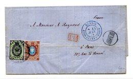 Russie - Lettre D'Odessa Pour Paris 1874 - Cachet Bleu RUSSIE ERQUELINES-PARIS - (W1210) - 1857-1916 Empire
