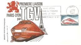 LETTRE ILLUSTREE 1ère Liaison PARIS-LYON En T.G.V. FLAMME PARIS GARE PLM 1981 Timbre N°1802 Recto/verso - Maschinenstempel (Werbestempel)