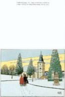 JUILLARD : Carte Double NEIGE DEVANT L'EGLISE Pour SALLECK - Juillard