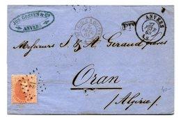 Belgique, Lettre D'Anvers Pour Oran (Algerie) - Ambulant BELGIQUE A QUIEVRAIN A - 1865 - (W1211) - 1863-1864 Medallions (13/16)
