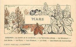 CARTE POSTALE A COLORIER LES MOIS - MARS - JARDIN ET JARDINIER ... - Autres
