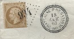 CHATEAUNEUF DE GADAGNE (Vaucluse) Gros Chiffres Sur N° 21 (défectueux) + Cachet Type 22. Frappes Superbes. Sur Fragmenr - Storia Postale