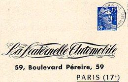 Gandon Entier à 15 F Bleu Du 9/5/1955 De Paris Pour Paris Déclaration D'accident - Postmark Collection (Covers)