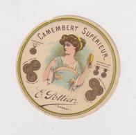 étiquette De Fromage:   Camembert  :  E  Pottier  , Livarot  (  Manque  Petit  Bout  Au  Dessus Du E  De  Camembert - Formaggio