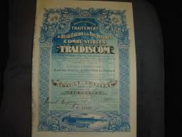 """Action""""Sté Africaine Traitement De Distillation Et Recherche De Combustibles Traidiscom""""Stanleyville 1927 - Afrique"""