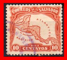 EL SALVADOR AÑO 1924-25 - 10 CENTAVOS MAP OF CENTRAL AMERICA - El Salvador